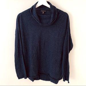 Eileen Fisher Navy Cashmere Cowl-neck Sweater - M